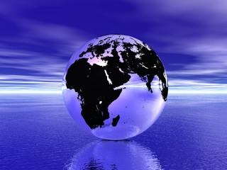 Canvas Prints Violet globe in ocean