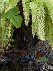 wild fantasy tiger in waterfall