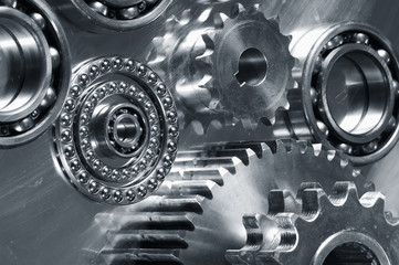 gears and bearings on titanium display