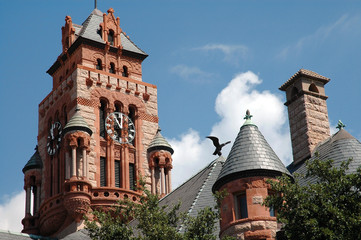 courthouse clock tower & eagle in waxahachie, texa