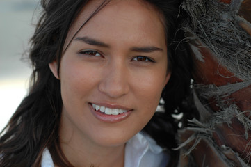 headshot of a gorgeous native american girl in haw