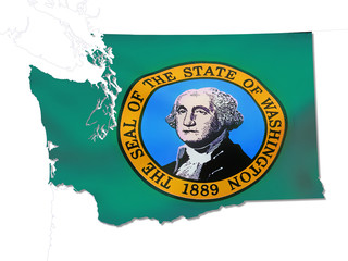 washington map and flag