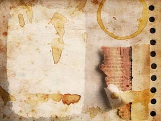 grunge paper background with coffee stains