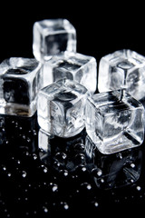 ice cubes and drops of water