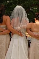 wedding bride with bridesmaids