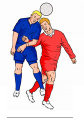 soccer 2players heading ball red and blue
