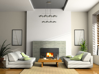 home interior with fireplace and sofas 3d rendering
