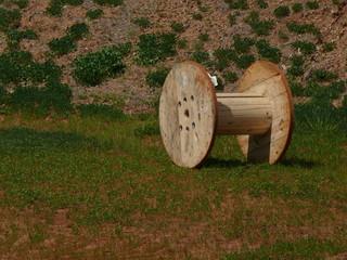 empty wooden spool