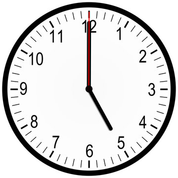 an illustration of an office clock on 5 oclock