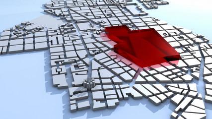 plan de ville maquette bloc rouge