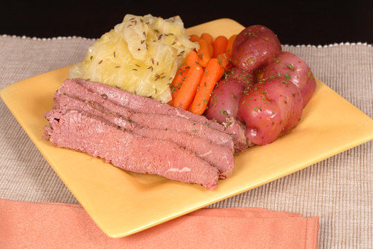 a corned beef and cabbage dinner