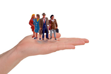 business hand with workers