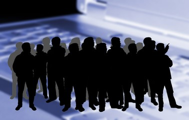 silhouette of a crowd