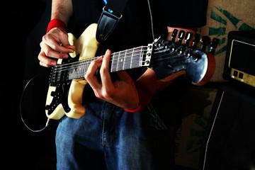 guitarist play rock guitar