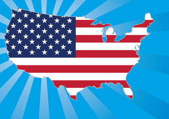 us map with stars and stripes flag