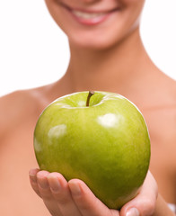 girl with a red juicy apple
