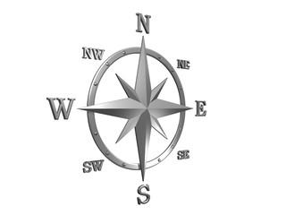 3d silver compass