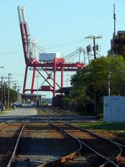 tracks and crane