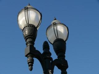 lamp fixtures in blue sky