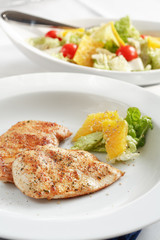 chicken medallions with salad
