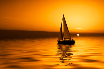 Photo sur Plexiglas Voile sailing and sunset