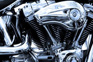 Fototapete - gros plan du moteur d'une moto de légende
