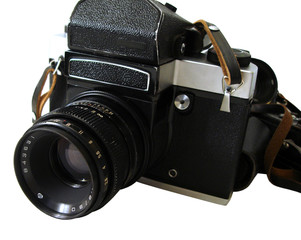 professional camera with attached zoom lens
