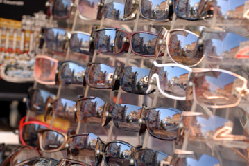 reflections in the glasses