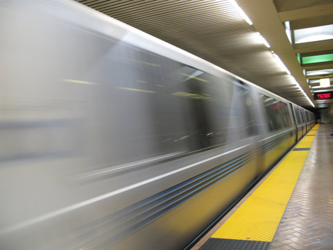 fast moving bart subway train