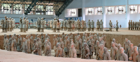 terracotta warriors army, zian, china, panorama
