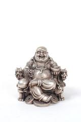 silver fat happy buddha sitting