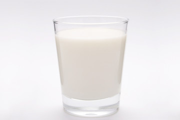 front view of a glass of milk