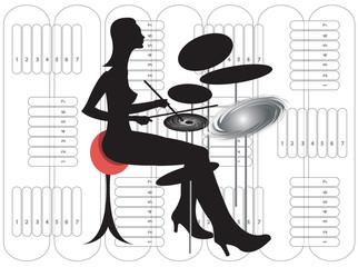 female drummer silhouette