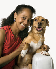 Adult female with dog.