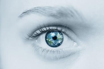 globe in eye...blue