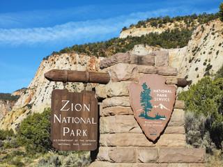 Zion National Park sign.