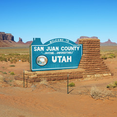Welcome sign in San Juan County, Utah.