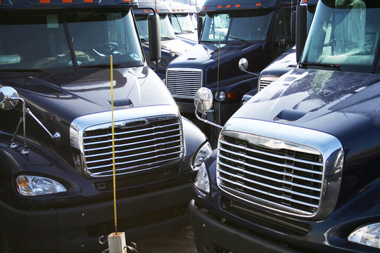 blue semi trucks