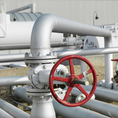 gas valve on pipe on fuel farm.
