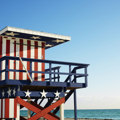 Lifeguard tower in Miami, Florida, USA.