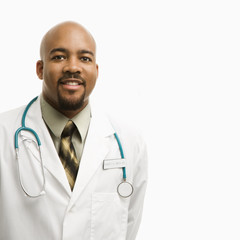 african-american man doctor smiling.