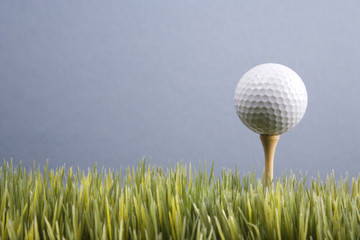 golf ball resting on tee in grass.