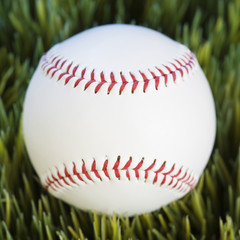 close-up of baseball resting in grass.