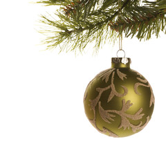 christmas ornament hanging from branch.