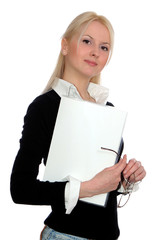 businesswoman with blonde hair