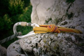 Foto op Aluminium Alpinisme carabiner