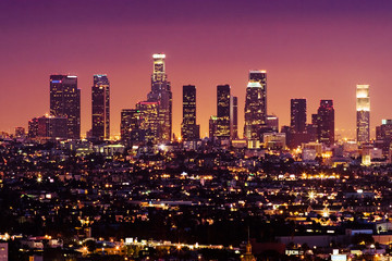 Spoed Fotobehang Los Angeles downtown los angeles skyline at night, california