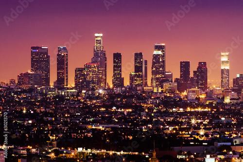 Fotobehang downtown los angeles skyline at night, california