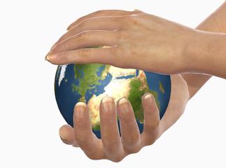 mani proteggono la terra