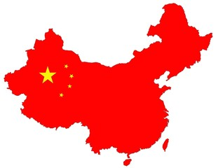 isolated red map of china